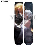 ingrosso calzini freddi delle ragazze-YX GIRL uomini donne Sexy labbra 3d stampa anime carattere divertente calzini Harajuku unisex fresco cotone calze lunghe