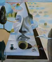abstrakte gemälde gesichter großhandel-100% handgemalt berühmte Künstler Leinwand Malerei Reproduktion abstrakte Gesicht Salvador Dali Malerei Wandkunst Ölgemälde auf Leinwand handgemacht