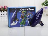 Wholesale Legend Zelda Figures - Blue 12 Holes Ocarina Kiln-fired Ceramic Alto C Legend of Zelda Flute Ocarina of Time Woodwind Instruments figure toys