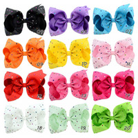 Wholesale Kids Rhinestone Hair Clips - 8 Inch Kids Hairbows Hairclips Boutique Big Bows with Clips for School Baby Girls Barrettes with Colorful Rhinestone Hair Accessories