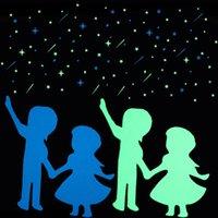 ingrosso pareti luminose-Adesivi murali luminosi luminosi di meteore romantiche nell'arredamento domestico scuro Adesivo del cerchio dell'amante Le stanze dei bambini decora