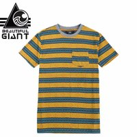 ingrosso tasca gialla della maglietta-Maglietta t-shirt da uomo a righe blu giallo a righe da uomo gigante con t-shirt casual da uomo