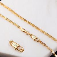 halskette für männer 22 großhandel-2mm Flach-Ketten-Halskette für Frauen-Männer Hip Hop 18K Goldschmuck Halsketten-Anhänger-Charme Schmuck Accessoires 16 18 20 22 24 Zoll Großhandel