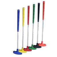 gummischwellen großhandel-Kinder Golf Putter Mini Pole Stahlschaft Griff Gummi Push Rod Zubehör Outdoor Freizeit Spiele Rot Grün Hohe Qualität 45kr Ww