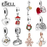 Wholesale gold cubes necklace - EDELL 100%925 Silver Love Key Heart Zircon Wealth Crown Snowflake Rose Gold Fashion Pendant DIY Necklace
