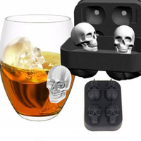 Wholesale Silicone Mold Halloween - 3D Skull Ice Cube Mold 12 x 8.5 x 5 cm Silicone Chocolate Tool Candy Pastry Mould Halloween Gifts