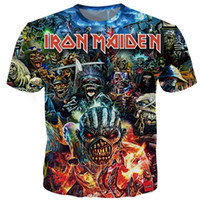 coche de color del ejército al por mayor-Summer T Shirt Iron Maiden Men's Short Sleeve Eddie Tee Cheering Fans 3D Printed T shirts Men Women Couples tshirt S-5XL 13 Styles