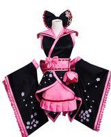 черный косплей кимоно оптовых-Косплей Черный Сакура Кимоно Платье Косплей Костюм