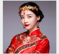 Wholesale red dragon hair resale online - Bride s ancient headwear Chinese style accessories red ancient costume dragon and Phoenix gown hair accessories