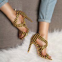 Wholesale cheap stiletto shoes - Fashion Stley Women's Sandals 2018 New Summer Hairpin Mouth Off with High Heel Sandals Crossed Straps Women's Shoes Toes White Cheap Sale