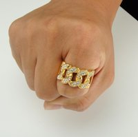 Wholesale Fashion Design Gold Filled Real Micro Pave Bling Cz Cuban Link Chain Design Unique Hip Hop Bling Mens Ring