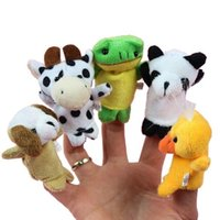 Wholesale Finger Puppets Prop - 10styles Cute Animal Finger Puppets toys Short Floss Baby Hand Puppet toy Kids baby early education Finger Toy Storytelling props