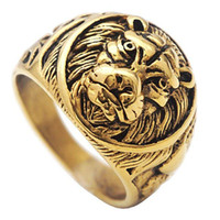 pcs men ring gold 2018 - 3 pcs Ring Head of lion Gold Yellow Stainless Steel for men Anniversary Christmas Gift