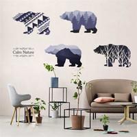 fondos de pantalla naturaleza pegatina al por mayor-Árbol de la naturaleza oso de montaña Etiqueta engomada 3D Ventana Hermosa Película tatuajes de pared Ver Papel de pared Pegatinas Sala de estar decoración de oficina