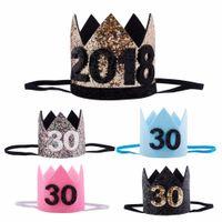 ingrosso cappelli del partito della fascia-Cappello da 30 ° compleanno 2018 Oro Nero Rosa Principessa Corona Numero Cappello da festa Compleanno con brillantini Accessori per la fascia