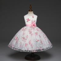 vestido rosa patrón al por mayor-Las muchachas sin mangas del cordón del tutú de las faldas del bebé imprimieron el vestido princesa de la gasa del vestido de princesa con los niños de flor princesa boutiques del partido que arropan