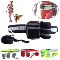Wholesale elastic running belt - 4colors Adjustable Elastic Hands Free Dog Lead leashes Walk Running Jogging Waist Belt with Leash Bag set FFA528 10PCS