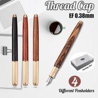 тонкий фарфор оптовых-Handmade Nature Wood Barrel China Fountain Pen Extra Fine Nib 0.38mm Thread cap with gift package