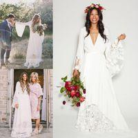 Wholesale Bohemia Shirt - 2017 Boho Beach Wedding Dresses Long Bell Sleeve Lace Flower Bridal Gowns Plus Size Bohemia Hippie Wedding Dress