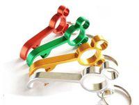 Wholesale Party Keyrings - New Laser Engraving Aluminum Alloy Mini Mickey Shaped Bottle Opener Opener Keyring Party Wedding Gift
