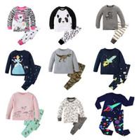 kinder pyjamas prinzessin großhandel-Mode Kinder 2 stück Langarm Baumwolle Baby Pyjamas Sets Kinder Prinzessin Nachtwäsche Mädchen Einhorn Pyjamas Pyjamas Kinder Pijama