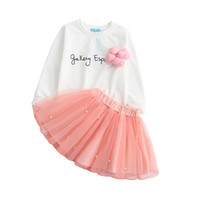 Wholesale cotton lace flower pearl online - Baby girls flower outfits Long sleeve Letter print top lace tutu pearl skirts set Autumn Baby suit Boutique kids Clothing Sets C4323