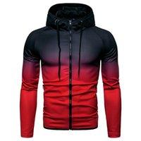 смешанные цветные толстовки оптовых-ASKR Осень Зима мужская мода повседневная с длинными рукавами толстовки кофты смешанный цвет молнии с капюшоном куртки пальто