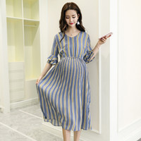 a208c7e2efdcf Vertical Striped Chiffon Maternity Long Dresses V Neck Slim Waist Charming  Clothes for Pregnant Women Elegant Pregnancy