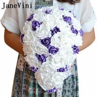 purple foam roses al por mayor-JaneVini Cascada Púrpura y Blanca Boda Titular de Bouquet Perlas de Cristal PE Espuma Rosas Ramos de Boda Artificiales Novia Decoración Mariage