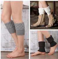 Mulheres Crochet Leg Warmers Knitted Boot Cuffs Lady Fashion Stretch Trim Toppers Winter Boot Socks Quente Chirstmas Foot Cover Socks KKA3618