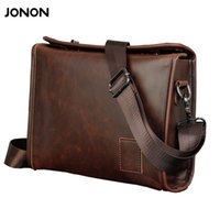 Wholesale Vintage Leather Satchels For Men - Jonon Vintage Men Briefcase Portfolios Office Bags Business Bag Messenger For Men Crazy Horse PU Leather Lock Brown Small