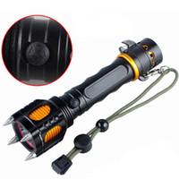 kleinste led t6 taschenlampe großhandel-CREE T6 LED Flash Lights Multifunktionales Design mit Hammer und Small Blade Self Defense aufladbare Taschenlampe LED-Lampen