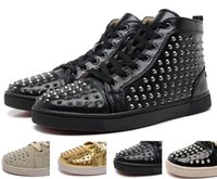 Wholesale Studs Mobile Phone - Luxury Red bottom louboutin designer high top studs spikes Flat black leather shoes party shoes men women lovers shoes leisure trainers