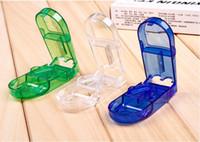 Wholesale medicine pill holders for sale - Group buy Pill Cutter Splitter Half Storage Compartment Box Medicine Tablet Holder Safe colors wen5698
