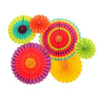 linternas de papel de colores al por mayor-Nuevo diseño 6pcs / set aficionados papel de seda de la rueda de colores Flores de bolas de la lámpara el banquete de la decoración del arte para la decoración fiesta de cumpleaños