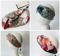 Wholesale bands for hair - Designer Headband Head Scarf for Women Luxury Brand Silk Elastic Hair bands Girls Retro Floral Bird Flower Turban Headwraps Gifts