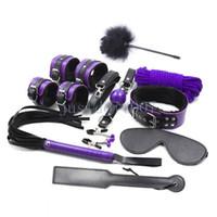 knöchel-handgelenk-schäkel großhandel-Plüsch Leder Handgelenk Fußfesseln Fesseln Schäkel Kragen Peitsche Paddel Maske # R56