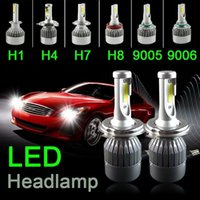 Wholesale H11 12v - H4 H7 H11 H1 H13 H3 9004 9005 9006 9007 9012 COB CREE LED Car Headlight Bulb Hi-Lo Beam 72W 7600LM 6500K Auto Headlamp 12v 24v