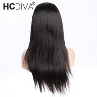 ingrosso beyonce capelli brasiliani-Parrucca anteriore del pizzo 360 di HCDIVA Hair Pre pizzicato con i capelli del bambino 150% parrucche diritte anteriori brasiliane del pizzo dei capelli umani per colore naturale delle donne nere