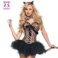 burlesque kleider korsetts großhandel-Burlesque Leopard Korsett Kleid Sexy Catwoman Cosplay Kostüm Superheld Disfraces Carnaval Erwachsene Halloween Kostüme für Frauen Y1892611