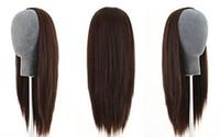 demi perruques indiennes achat en gros de-3/4 Demi Perruque 100% Remy Indien Cheveux Soyeux Cheveux Raides Trame Cap Trame Différentes Couleurs à Choisir 12-22