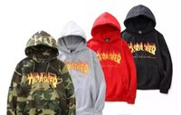 Wholesale Fire Belts - tAutumn Winter Men's Sportswear Hooded Sweatshirts Europe American 6 Colors Fire Letters Hooded Men Women Plus Cashmere Sweater Hoodies