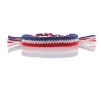 горячие флаги стран оптовых-флаг Франции Нидерланды браслет дружбы красный белый синий шнур плетеный новый шикарный горячий летний браслет развеселить для вашей страны