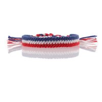 Wholesale hot countries flags resale online - flag of France Netherlands friendship bracelet red white blue cord braided new chic hot summer bracelet Cheer for your country