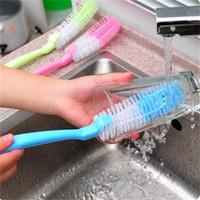 cepillos de limpieza de tubos de nylon al por mayor-Soft Hair Bottle Tube Brushes Cleaning Cup Wash Limpiador de nylon Dish Washing Clean Pan Pot Brushes Herramientas del hogar 1 5ld bb