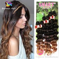 ombre saç uzantıları satışı toptan satış-Sıcak Satış 2018 Sapıkça Kıvırcık Sentetik Saç Dokuma 6 Kafaları Bir Baş Için Çok Ombre Kahverengi Mor Bordo Örgü Tığ Saç uzantıları