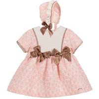 bebek kızları için doğum günü şapkaları toptan satış-DHL ücretsiz Yüksek kalite İspanya tarzı bebek kız elbise yuvarlak yaka kısa kollu prenses elbise + şapka + kısa setleri Doğum Günü elbise 3 parça set 2-6 T