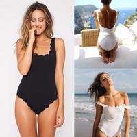 Wholesale White Beachwear Women - Women's Backless Straped One-piece Scalloped Swimwear Solid Beachwear Swimsuit Women Swimming Clothes 2018