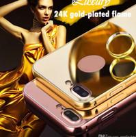 teléfono 24k al por mayor-Para Samsung Galaxy S6 S7 S8 S9 J7 Prime note8 A7 A5 2018 Espejo de acrílico PC de la espalda 24K dorado Flame cajas del teléfono 10065