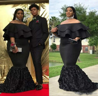 Wholesale cheap ruffled shirts - Mermaid Plus Size Prom Dresses Black Off The Shoulder Cheap Evening Gowns Ruched Sweep Train 3D rose floral African Women Formal Party Dress